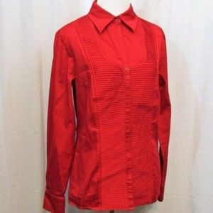 Worthington Red Pleated Long Sleeve Top 10